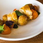 Monkfish with Parmesan Arancini & Tomato Curd