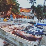 fresh seafood on the beach