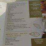 Continental breakfast menu
