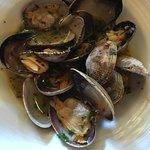 clams in garlic white wine broth