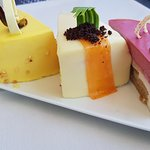 carrot cake, lemon cake, passionfruit cake and carmel cake
