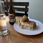 Ciabatta sandwich and cider - Driftwood Cafe