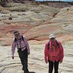 Hiking across the slick rock
