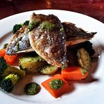 Grilled Seatrout ~ Baby Potatoes ~ Pesto Sauce