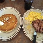 Macadamia pancakes, eggs and a pork chop