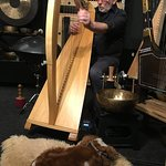 Luc playing the Celtic Harp