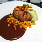 Crab Cake with Oaxacan Mole and Avocado Crema