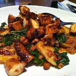 Charred Octopus with Rapini, Fingerling Potatoes and Chorizo Vinaigrette