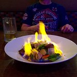 Volcano Beef Served on fire!