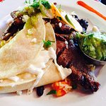 lunch special of seasoned grilled steak and cheese quesadillas