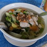 Noodle Soup with Chicken, packed full of veggies and topped with fried garlic