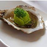 oyster wasabi sorbet and caviar