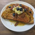French toast on sourdough bread with blueberries and greek yogurt