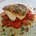 Pan Fried Cod, Confit Tomato, Spinage, Pine Nuts