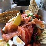Smoked Salmon, egg and olive salad