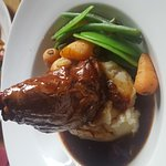 Lamb shank slow cooked in red wine