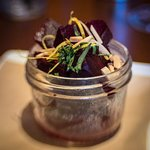 Beet salad in a jar