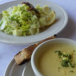 Butternut squash soup and Caesar Salad