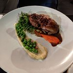 'Not' duck with orange, corn salsa and cubed polenta