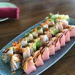 Tsunami, Torpedo and Cherry Blossom sushi rolls.