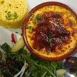 Mmm, bobotie, salad and rice