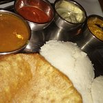 Poori and Idly with curries
