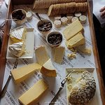Cheeseboard with selection of chutney and biscuits