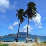 Cockleshell Beach - Nevis in Background