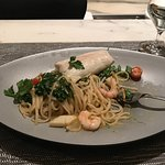 The sublime seafood linguine (with an extra fillet that I requested) seafood prepared sous vide