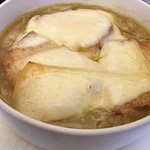 Onion soup with lots of cheese topping