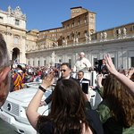 Pope Francis in St. Peter's Square before starting Papal Audience.