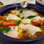 Half and half, lamb and vego breakfast Tagine. $45. Outstanding.