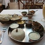 South Indian Thali with Mango Lassi