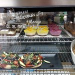 the counter with food options for all diets, clearly labelled