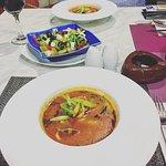 seafood soup and salad