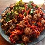 Kofta Tofu Broccoli Beet Salad