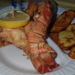 Excellent cracked lobster with plantains