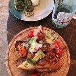 Tomato bruschetta and burrata with grilled zucchini