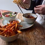 Pulled pork tacos and sweet potato fries....scrummy.