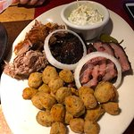 BBQ Pork, Brisket, and Burnt Ends w/Fried Okra & Slaw