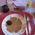 Breakfast waffles, great blueberry preserves
