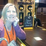 another of Margaret sitting in Seth's seat in the woolpack