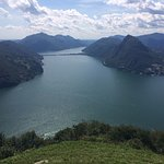 Vista su Melide, San Salvatore e il ponte diga