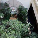 Jardín interior que se ve desde los pasillos de acceso a las habitaciones.