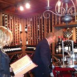Enjoying the wine cellar