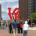 """Robert Indiana's Love statue with the lopsided """"O"""""""