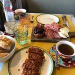 boar ragu bruschetta and meat & cheese plate