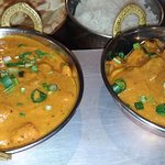 Chicken Jalfrezi (left) & King Prawn Masala (right)