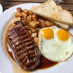 Iron Skillet Steak and eggs