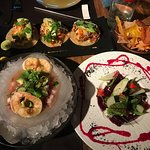 soft shell crab tacos, mexican ceviche, and beet salad